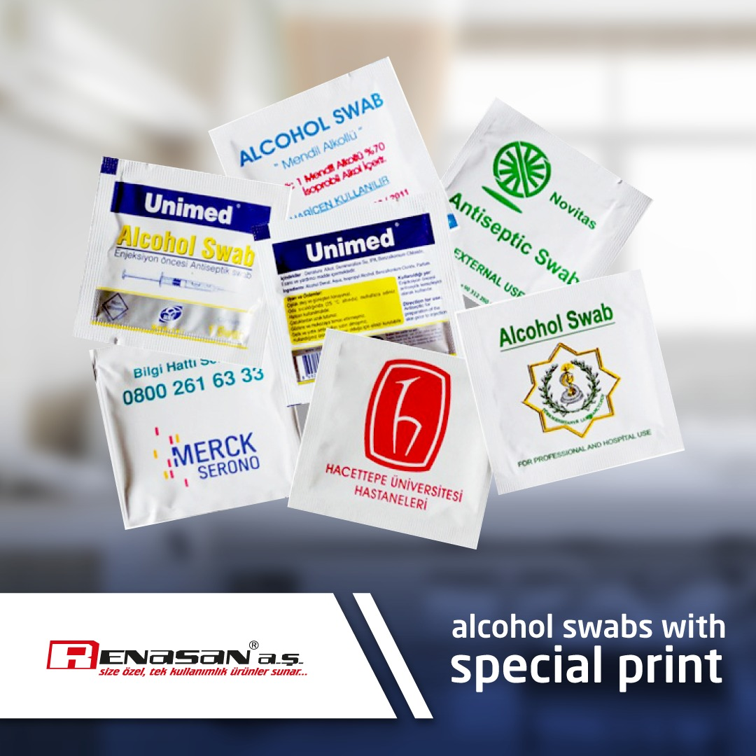 alcohol swabs with special print