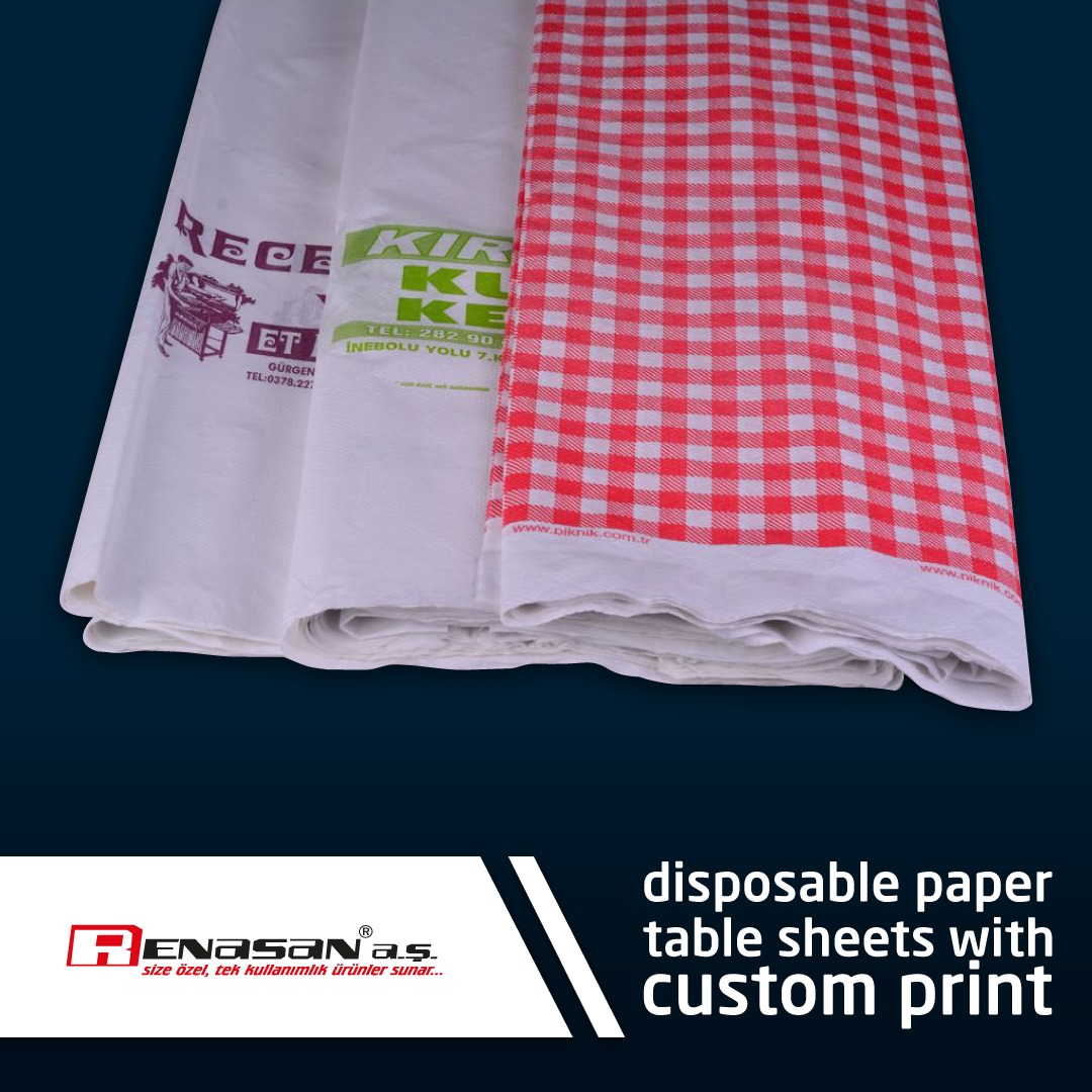 Disposable Paper Table Sheets With Custom Print