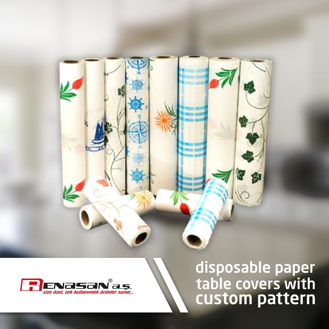 Disposable Paper Table Cover with Custom Pattern